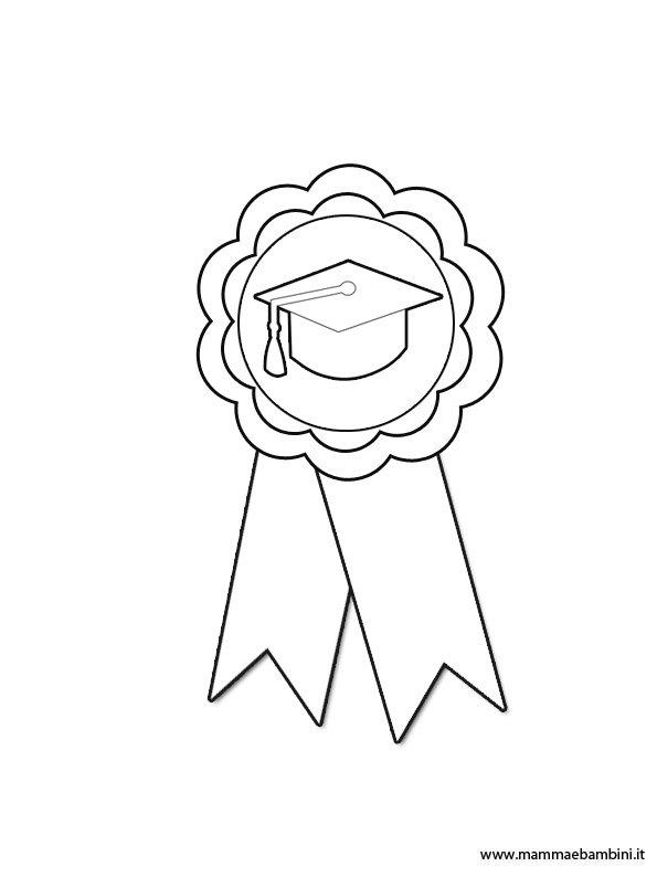 Disegno coccarda da colorare per premiazione
