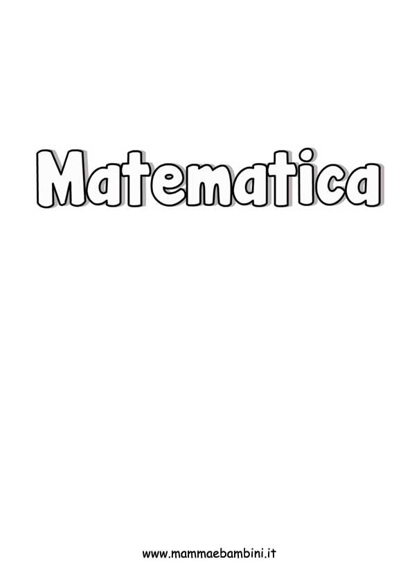 Scritta Matematica da colorare per bambini