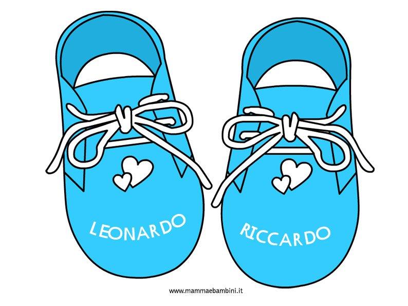 Disegno scarpine neonato con nomi