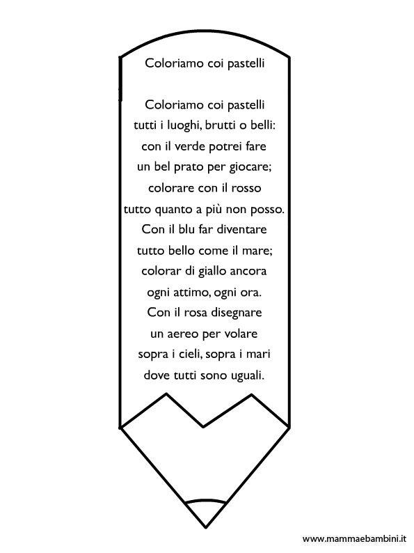 Poesia sui colori con disegno matita da colorare