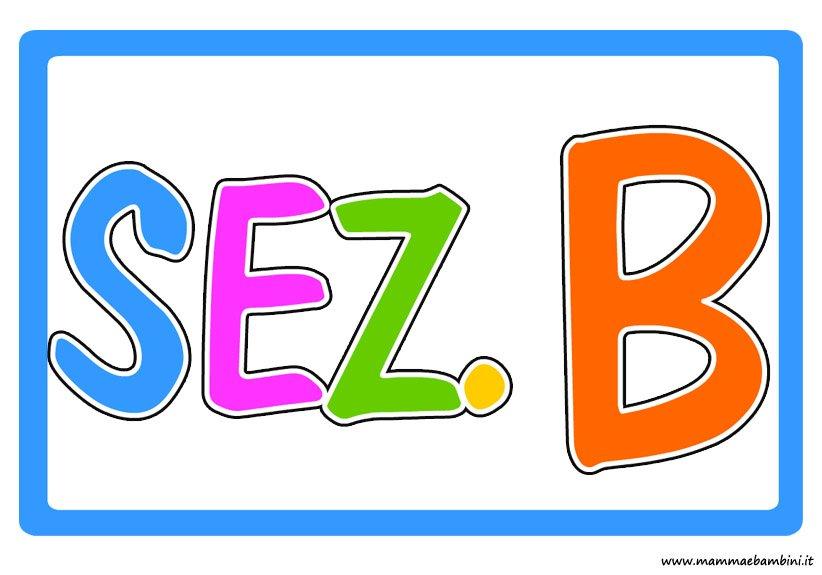 Scritta sezione B colorata per scuola
