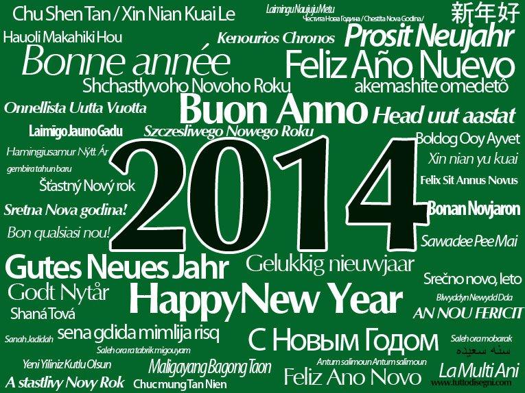 Scritta Buon 2014 in tutte le lingue