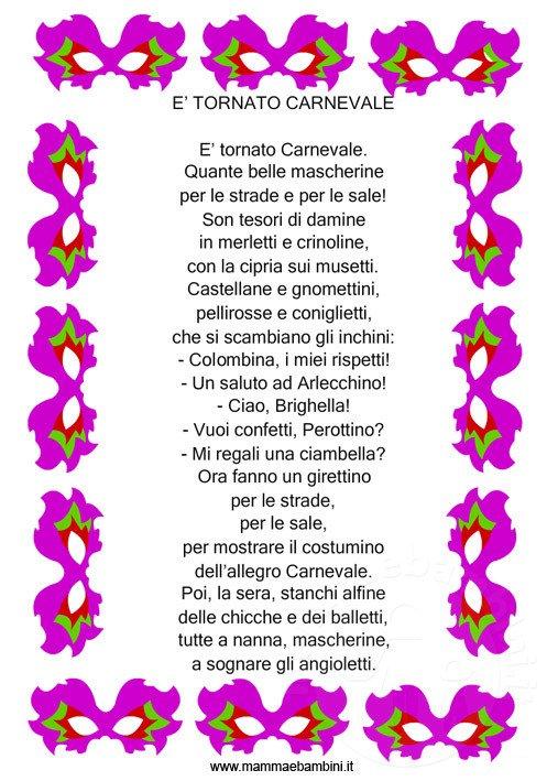 Poesie da stampare: E' tornato Carnevale