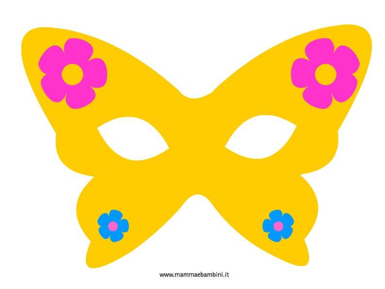 Mascherina carnevale a farfalla mamma e bambini for Mascherina carnevale da colorare