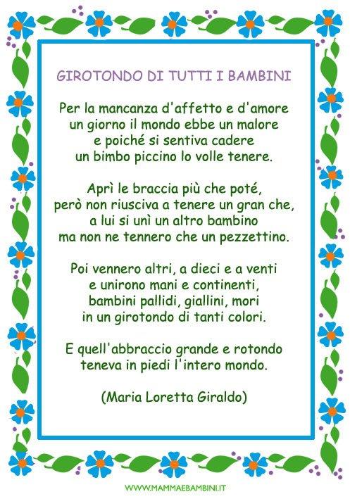 """Ben noto Poesia """"Girotondo di tutti i bambini"""" da stampare - Mamma e Bambini BA62"""