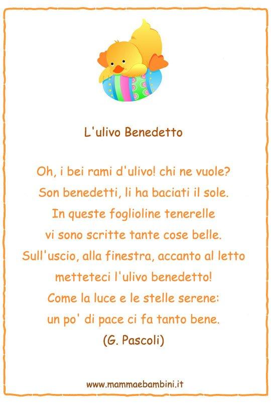 Famoso Poesie per Pasqua: L'ulivo Benedetto - Mamma e Bambini DH57