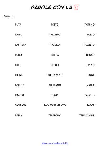 Dettato parole con la lettera T