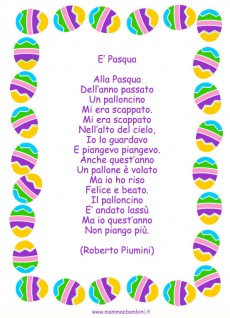 Poesia E' Pasqua in cornice