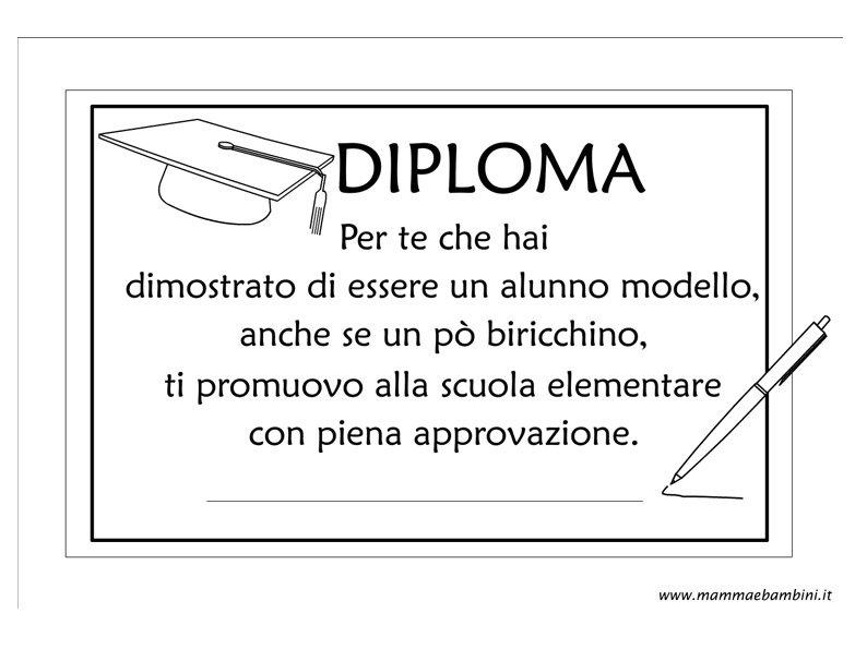 Diploma ultimo anno scuola d'infanzia