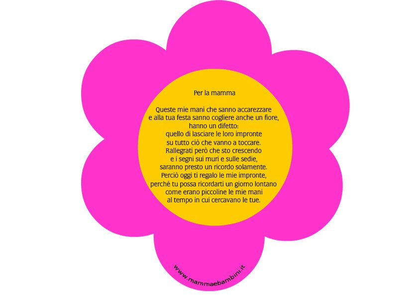 Fiore con poesia per la mamma
