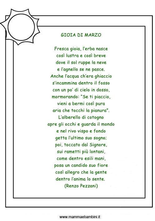 """Poesia """"GIOIA DI MARZO"""" con cornice"""