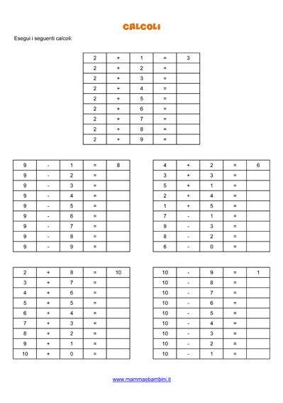 Esercizi matematica: calcoli fino a 10