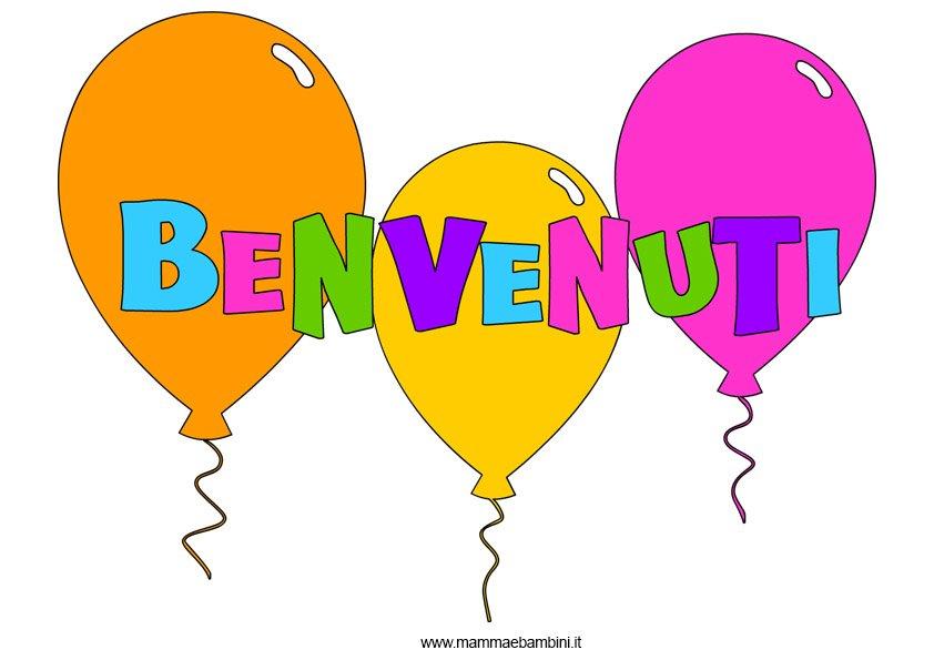 Scritta BENVENUTI con palloncini