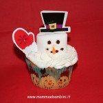 Pupazzo di neve su cupcakes