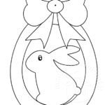 Disegno uovo di Pasqua con fiocco da colorare