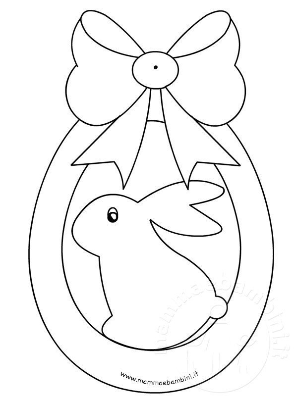 Disegno uovo di pasqua con fiocco da colorare mamma e for Coniglio disegno per bambini