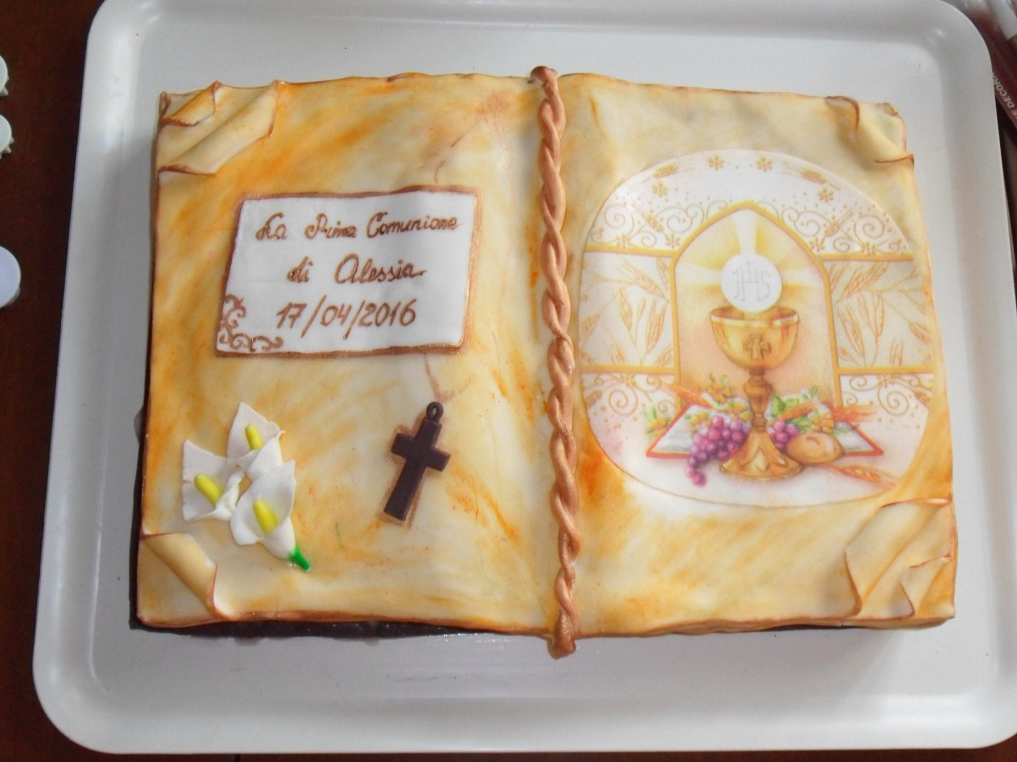 Conosciuto Torta libro aperto per Prima Comunione - Mamma e Bambini BU92