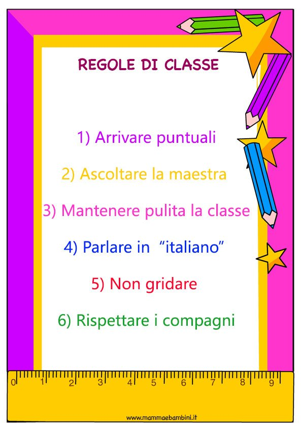 Amato Cartellone con regole da rispettare in classe - Mamma e Bambini BS35