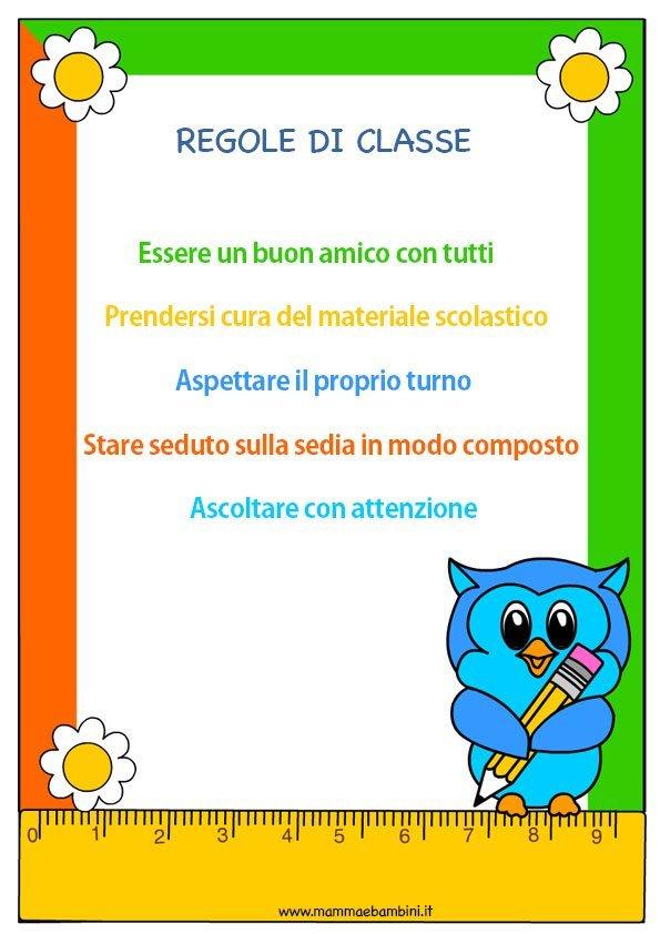 Eccezionale Regole a scuola da rispettare - Mamma e Bambini XT47