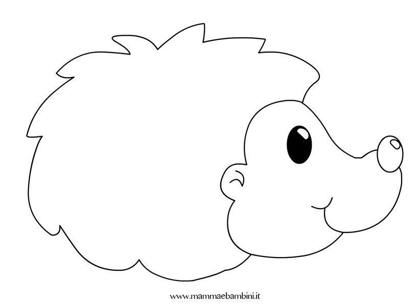 riccio disegno da stampare e colorare mamma e bambini