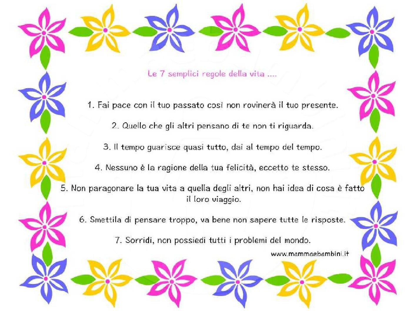 Le 7 semplici regole della vita in cornice