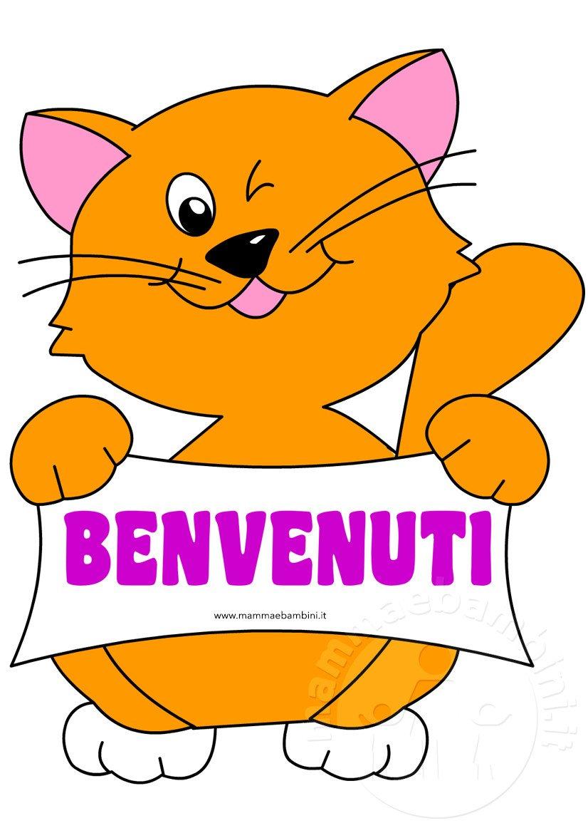 Scritta benvenuti con disegno gatto mamma e bambini - Gatto disegno modello di gatto ...
