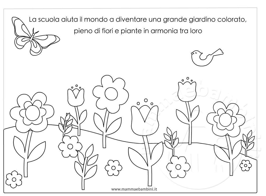 Disegno giardino con fiori da colorare