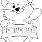 Disegno gatto da colorare con scritta benvenuti