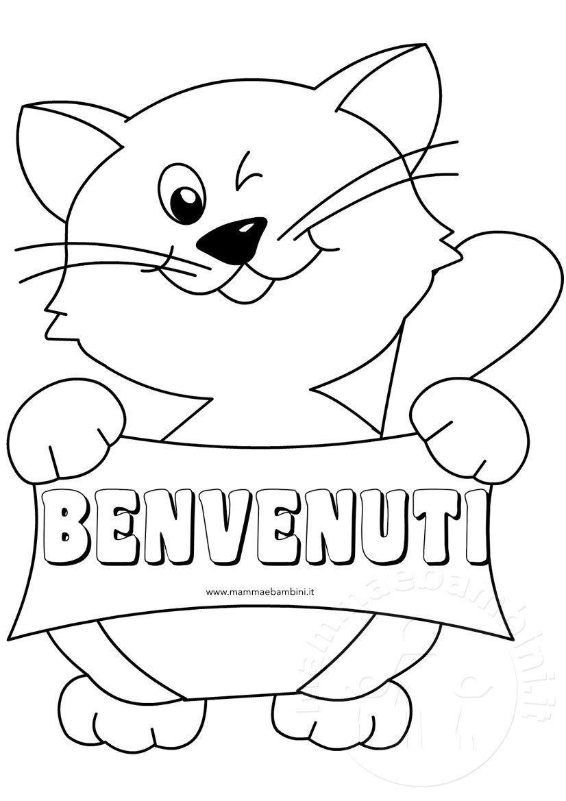 Disegno gatto da colorare con scritta benvenuti mamma e for Cani e gatti da stampare e colorare