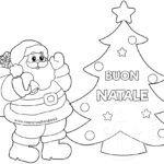 Disegno albero con Babbo Natale da colorare