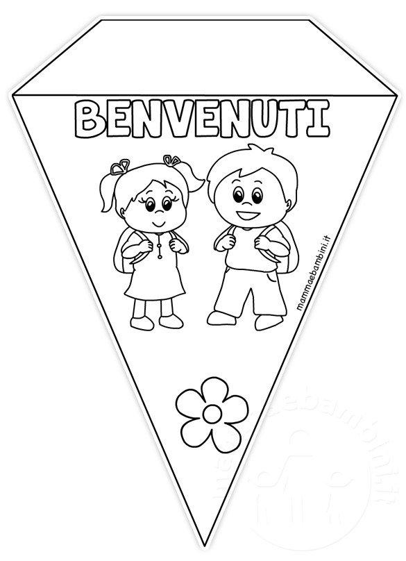 Striscione scuola con bandierine da colorare mamma e bambini - Torna a scuola da colorare ...