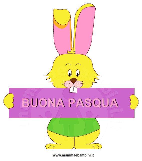 Biglietto auguri per Pasqua: coniglio con scritta