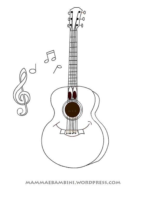 Disegni da colorare chitarra mamma e bambini - Pagina da colorare per chitarra ...