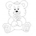 Disegni da colorare: orsetto con fiore