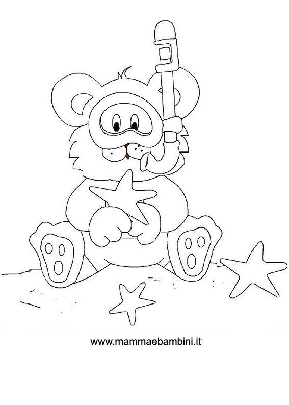 Disegni da colorare orsetto al mare mamma e bambini for Pesci da disegnare per bambini