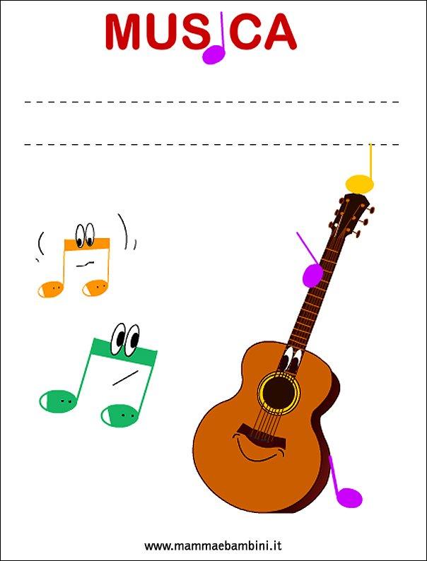 Copertina quaderno di musica mamma e bambini - Pagina da colorare per chitarra ...