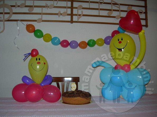 Decorazioni per feste con palloncini pupazzi mamma e - Decorazioni per camerette bambini fai da te ...
