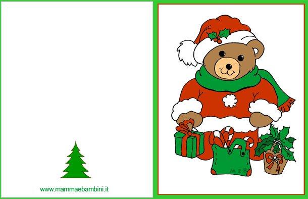Biglietti auguri natale orsetto con regali mamma e bambini for Biglietti auguri natale da stampare