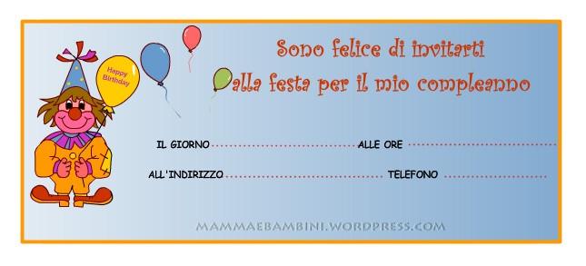 Super Biglietti invito per compleanno: clown con palloncini - Mamma e PJ06