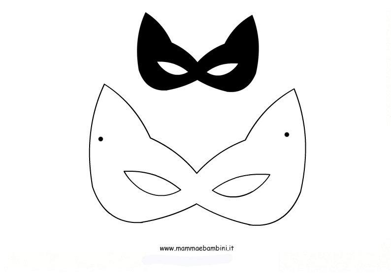 Carnevale altre maschere da stampare per grandi e piccini - Pagina colorazione maschera gatto ...