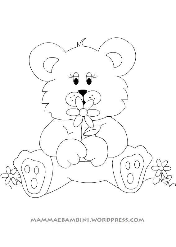 Disegni da colorare orsetto femmina mamma e bambini for Disegno orso per bambini