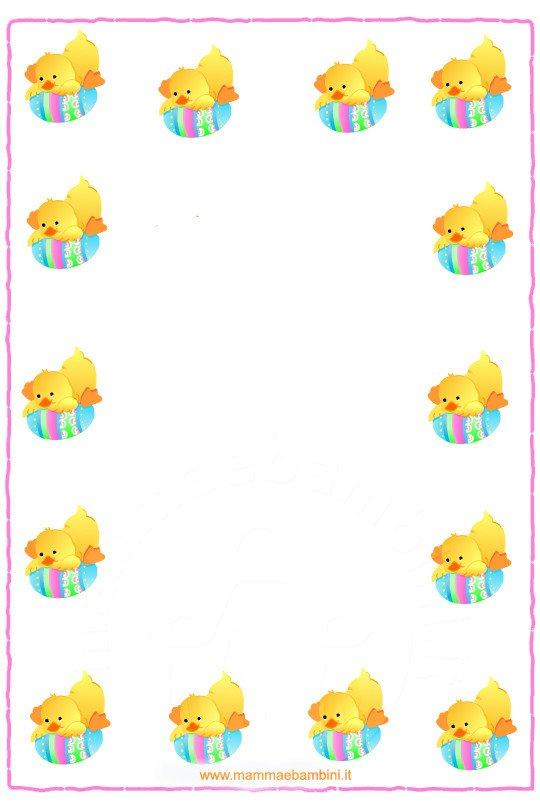 Cornice e lettera buona pasqua mamma e bambini - Fogli da disegno per bambini ...