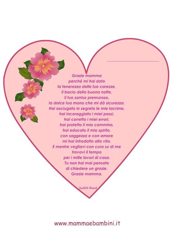 Poesia sulla mamma con cornice a cuore