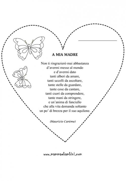 Cuore Da Colorare Per La Festa Della Mamma Con Poesia Mamma E Bambini