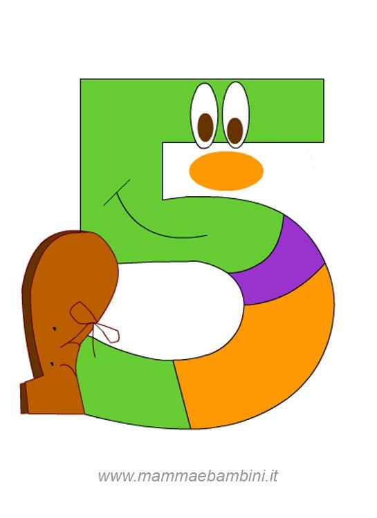 Numeri da stampare e colorare: 5