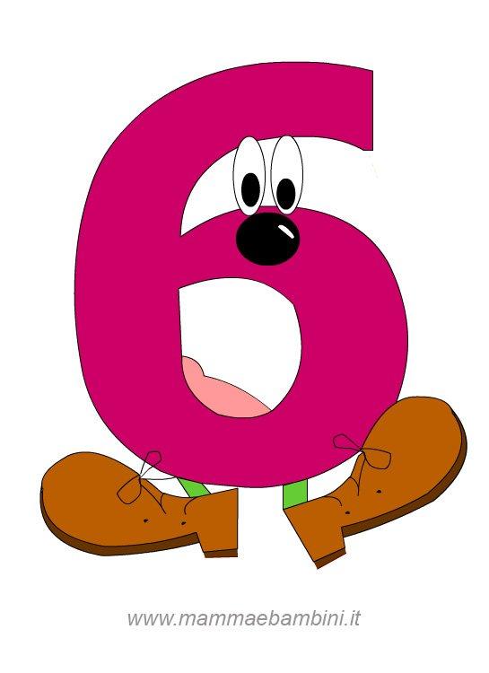 Numeri da stampare e colorare: il 6