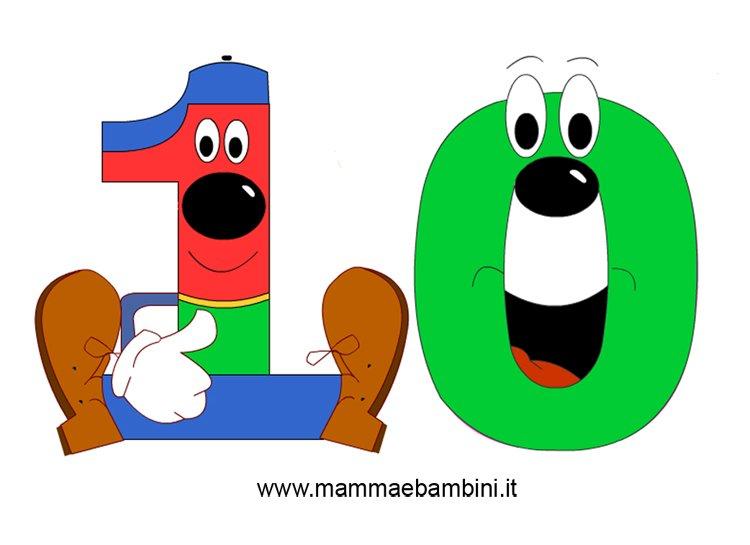 Numeri da stampare e colorare il 10 mamma e bambini - Numeri per tavoli da stampare ...