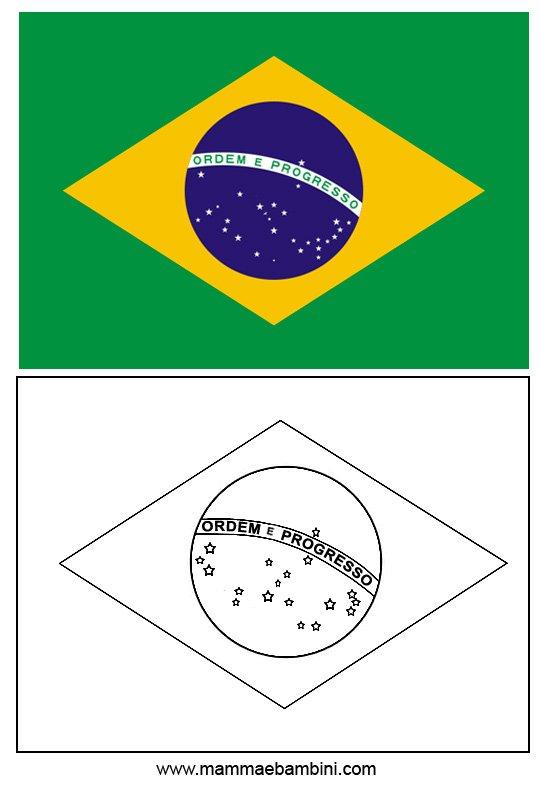 Le Bandiere Da Stampare E Colorare Italia E Brasile Mamma E Bambini