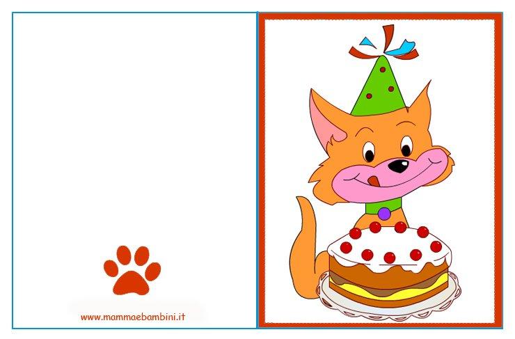 Biglietto Auguri Compleanno Gatto Con Torta Mamma E Bambini