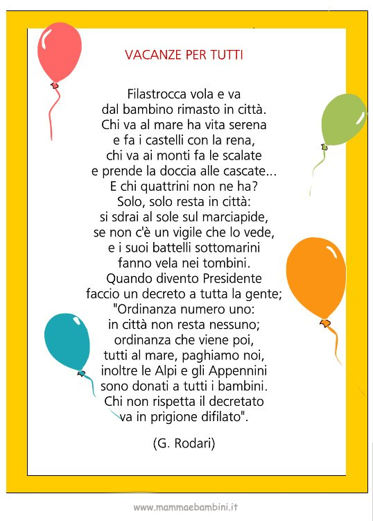 """Poesia con cornice """"Vacanze per tutti"""""""